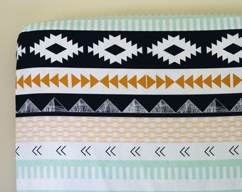 Arizona Aztec Fitted Crib Sheet, Changing Pad Cover, Peach Gold Mint Navy Tribal Nursery Bedding, Arrows Arid Horizon, Southwestern Baby