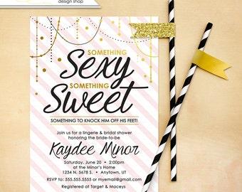 Bridal Shower Invitation Wedding lingerie Shower Invite Gold and Pink Bachelorette Printable wedding Custom DIY