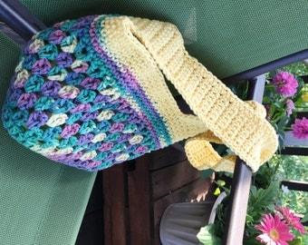 Girls Beach Bag - Market Bag - Grocery Sack - Summer Purse - Crochet