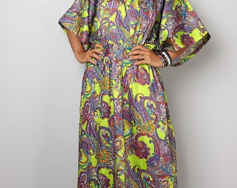 Boho Dress -  Green Paisley Kaftan Maxi Dress : Boho Kimono Collection No 1.1