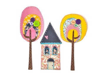 Whimsical Floral House with Trees | Paper art  | Paper Scrapbook Embellishments. Valentines gifts