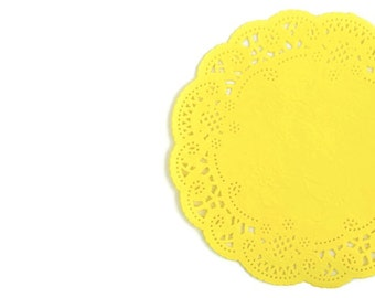 Yellow paper doilies. Hand dyed round Canary yellow French lace doilies various sizes