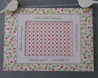 Ultrasound Frame or Mat with Bible Verse - Pink White and Green - Flowers and Diamonds - Baby Girl 5x7