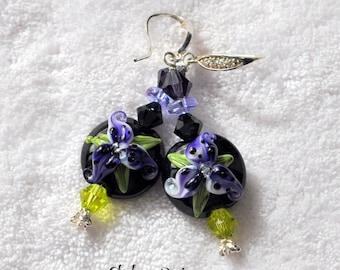 Purple Floral Earrings - PURPLE PASSION-  Lampwork  Earrings,Dangle Earrings,Floral Earrings,Beaded Earrings, Glass Earrings,