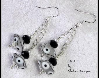 DUET - Handmade Lampwork and Sterling Silver Earrings