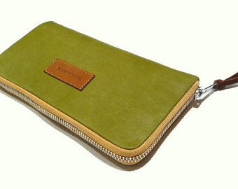 Moss green leather handmade women's wallet - moss green leather functional wallet -gift for mom- gift for her-Christmas gift-zipped wallet
