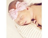 New { the Addy } light pink lace bow headband . Newborn, toddler, child, teen, adult