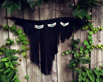 Leather Fringe Wall Hanging Tribal Wall Decor Leather Fringe Black Turquoise Boho Decor  Office Decor Studio Decor Western Decor