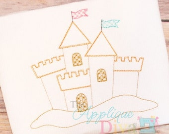 Summer Vintage Beach Sand Castle Digital Embroidery Design Machine Applique