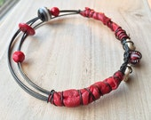 Reserved. Red Leather Gypsy Bracelet, Tribal Stacking Bangle, dark metal Belly Dance Jewelry, boho bracelet, beaded Ethnic Jewelry, Bohemian