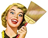 Retro Cartoon Comic  Woman With Broom Cleaning - Vintage Art Illustration - Digital Image - Instant Download