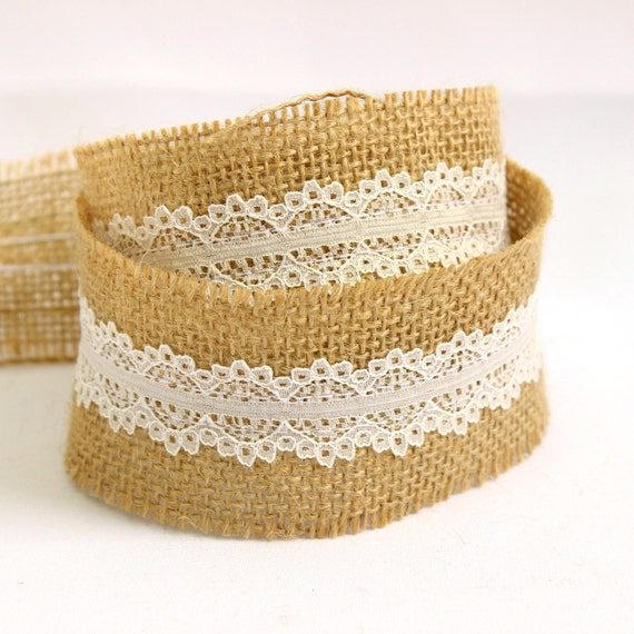 hessian burlap lace ribbon 50mm 5 yards