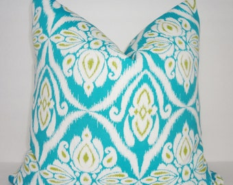 OUTDOOR Turquoise Blue Chartreuse Floral Print Outdoor Pillow Cover Geometric Print 18x18