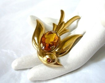 1940's CORO Bird Brooch, Large Amber Rhinestone, swallow, dove, Pegasus, Excellent