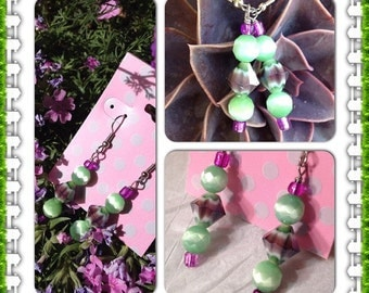 Spring  Meadow Mardi Gras Earrings Purple Green Cats Eye Summer Dangle Mothers Day