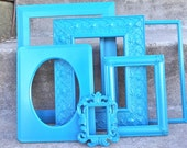 Peacock Blue Ornate Picture Frame Set 6 Piece Large Gallery Wall