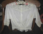 Antique Cotton Blouse Victorian Edwardian White Lace Neck Cuffs Very Small
