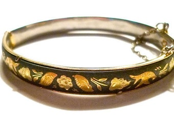 Vintage Damascene Bangle Shakudo Spain 1940s - 50s