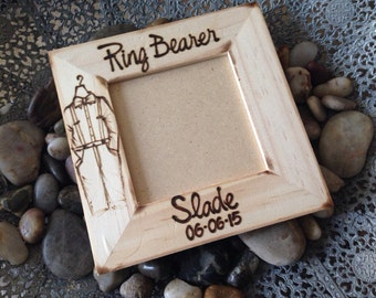 Gift for the Ring Bearer - Personalized with a mini tuxedo and name - So rustic Chic  - Add your Wedding Date and Couples Name