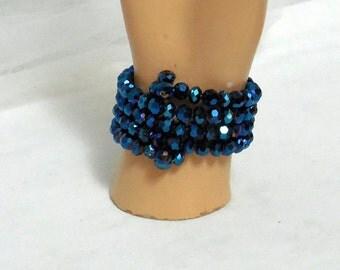 Indigo Crystal Wrap Around Bracelet - wire wrapped bead dangles, INDIGO BLUE, Memory Wire, Crystal Jewelry, Bracelets by Beadgarden, Jewelry