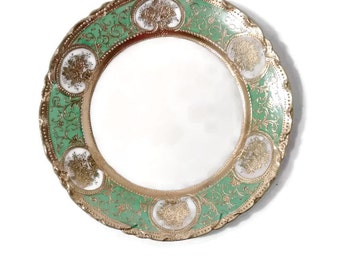 """Antique Nippon , Gilt Gold Moriage , Green 9"""" Cabinet Plate"""