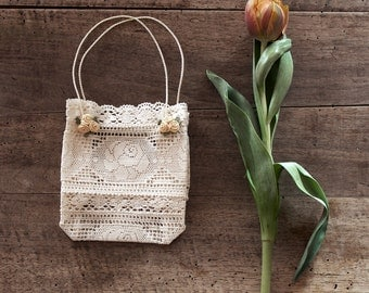 Bag, Flower girl bag,  Lace gift bag with flower ornaments for weddings and baby showers,  Summer bag
