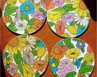 Vintage 1960s Flowered Stove Mats/Hot Plates - Set of 4