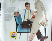 Vintage Magazine Original  Promo Ad 1950's Pepsi -  Modern Design Refreshment - Great for Framing