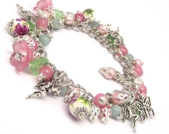 The English Tea Rose Fairy Charm Bracelet
