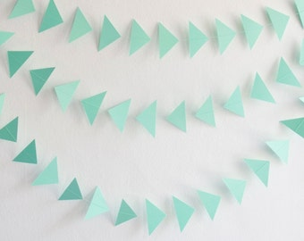 Green Triangle Garland, Paper Triangle Garland, Green Paper Triangles, Triangle Garland, Birthday Garland, Wedding Garland, Party Garland