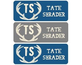 FAST SHIPPING! Daycare Labels, Boy, Bottle Labels, Waterproof Name Labels, School Name Labels, Daycare Labels, Deer Antlers, Blue, Gray
