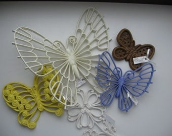 5 Vintage 1970s Homco and Syroco Butterfly and Flower Wall Plaques Made in USA//Vintage Wall Art//Art Craft Supply