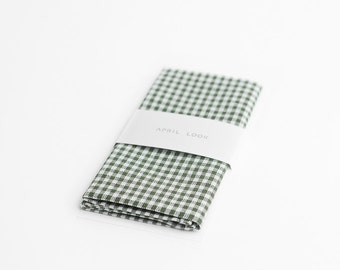Olive green pocket square, gingham handkerchief