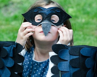 Crow Costume, Wings and Mask: Lots of sizes! Eco Friendly! Tree + Vine