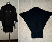 Vintage 20s Black Dolman Drop Waist Dress