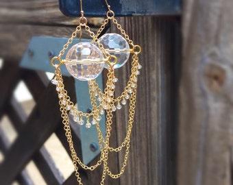 White Topaz Earrings - Yellow Gold Jewelry - Clear Quartz - Chandelier - Dangle - Chain - Edgy - Fashion - Long
