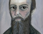 Fyodor Dostoyevsky Literary Portrait (6x8) Writers Art Print