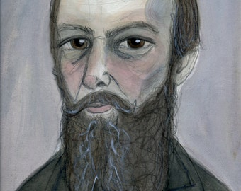 Fyodor Dostoyevsky Literary Portrait, Crime and Punishment, Author Illustration (6x8) Writers Art Print