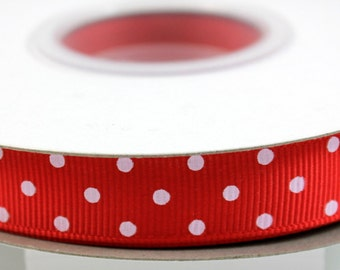 "5/8"" Grosgrain Dotted Ribbon Red - Grosgrain Ribbon - 25 yd Spool"