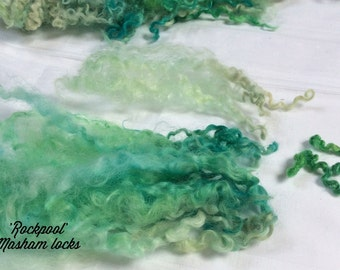 Hand Dyed British Breed Masham Wool locks, 85gms for Waldorf Dolls, Art Dolls,Re-Roots, Spinning and Felt Making 'Rockpool' Colourway