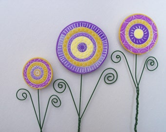 Plant Stakes, whimsical polymer clay flowers, garden art