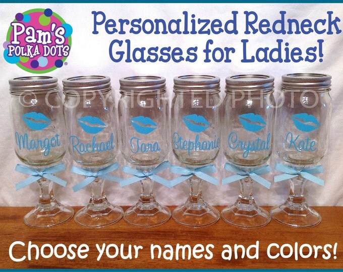 Personalized REDNECK WINE GLASS with Lipstick Kiss for Bride Bridesmaid Maid Matron of Honor Bachelorette Party Wedding Party Favor Gift