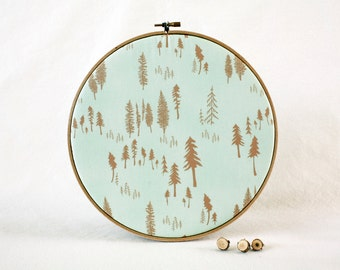 Woodland Cork Memo Board, Aqua Blue Forest, Embroidery Hoop, Real Wood SliceTacks, Organize, Wall Decor, Home Office