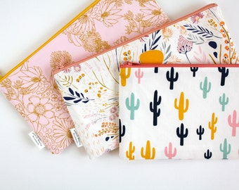 Cactus Zipper Pouch, Cactus Pencil Pouch, Pencil Case, Desert, Floral, Back To School,  School Make Up Bag, Women, Pencil Bag, Cosmetics Bag