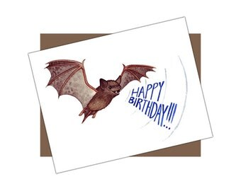 "Bat ""Happy Birthday!"" Sonar Card / Birthday Card / Blank Inside / Nature Art / Greeting Card"