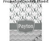 "Personalized Soft Fleece Swaddle Blanket- Gray Deer and Chevron - 29"" X 39"""