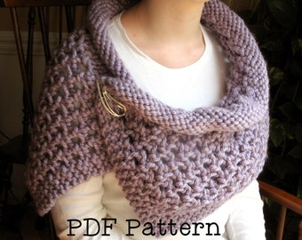 Chunky Shoulder Wrap Knitting Pattern PDF Digital Easy Project Oversize