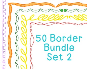 50 Borders Multicolor Clip Art Bundle Set 2, PNG JPG, Blackline Included, Commercial or Personal, Twists, Springs, Molding