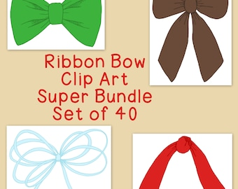 Ribbon Bow Clip Art Bundle, Brights Neutrals Pastels, PNG JPG, Blackline Included Commercial or Personal