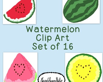 Watermelon Clip Art Bundle Summer PNG JPG Blackline Commercial Personal Line Art